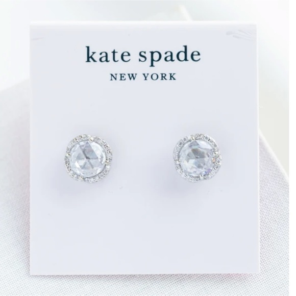 KATE SPADE Large Silver Sparkle Pave Earrings
